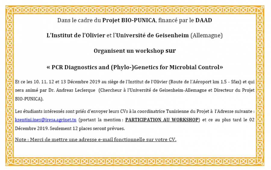 Workshop sur « PCR Diagnostics and (Phylo-)Genetics for Microbial Control»